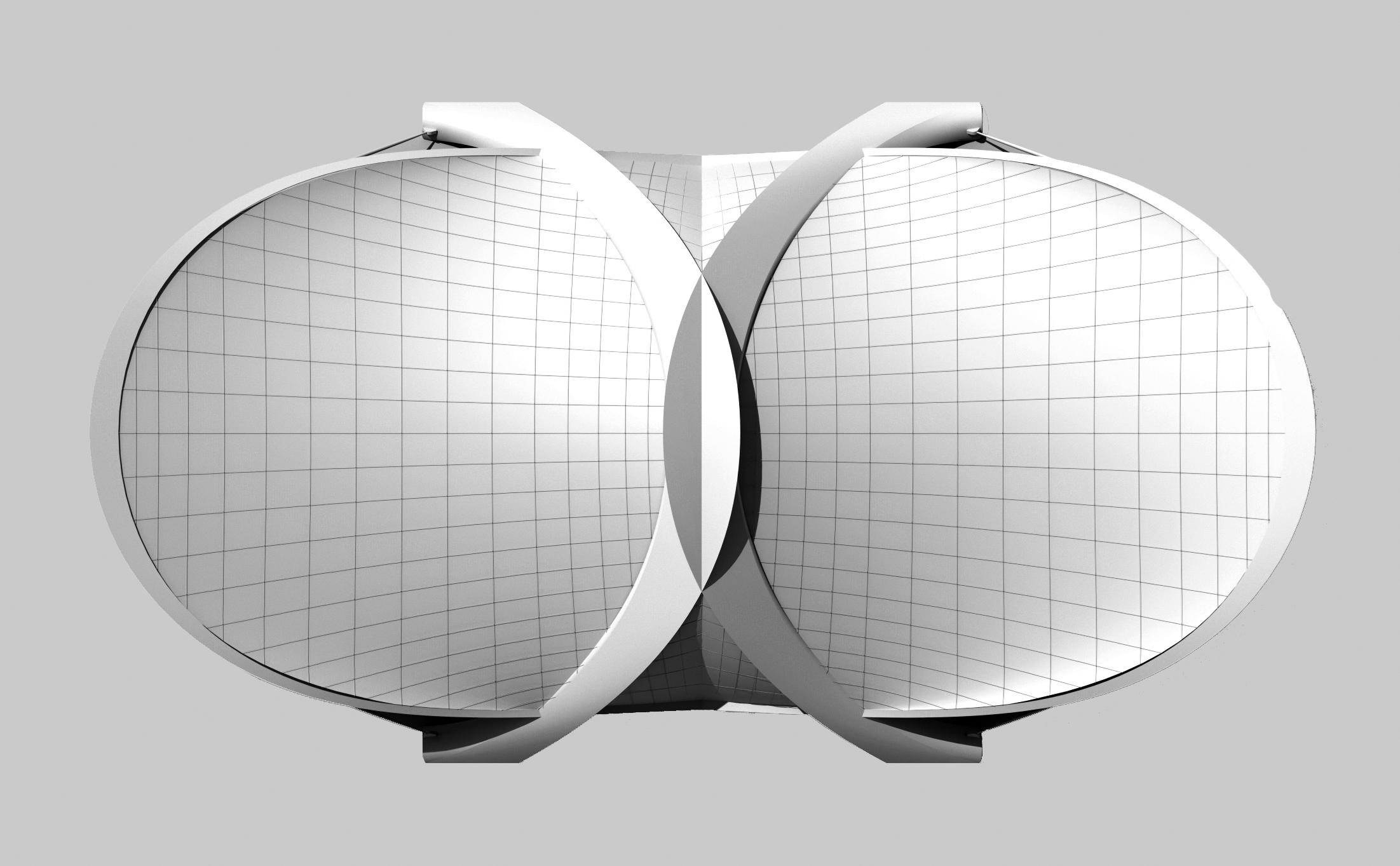 Flexible Konstruktion - Zwei faltbare Membrandächern mit einer Fläche von je 82 x 82 Metern sind an vier vorgespannten, großen Bögen befestigt. Bei hohen Windgeschwindigkeiten oder Sandstürmen wird das Dach eingezogen.