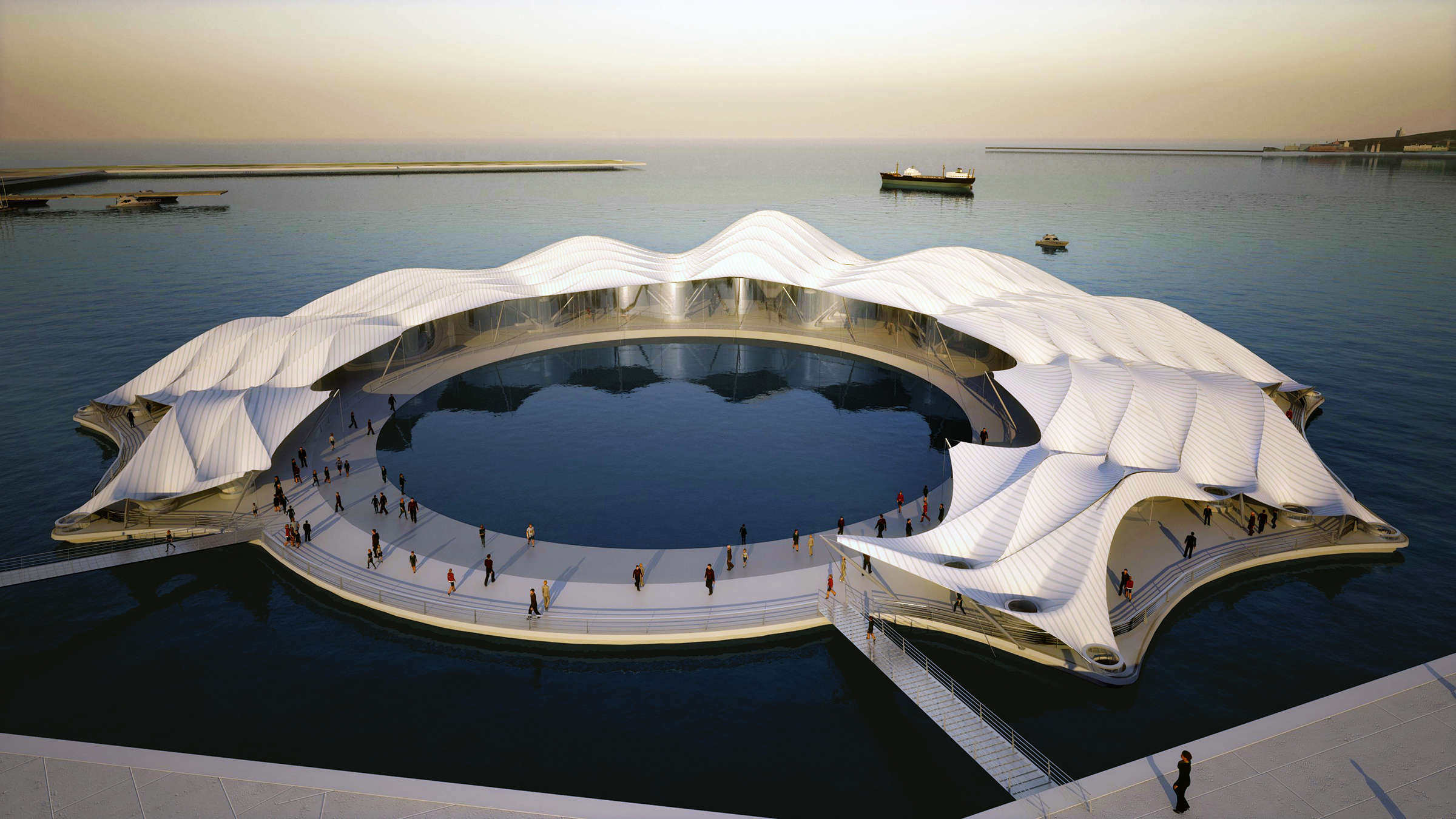 Pavillonform und zentraler Pool - Der Grundriss des Gebäudes ist wie eine Sichel geformt. Die Öffentlichkeit betritt die schwimmende Plattform über einen der beiden Laufstege. Von dort aus gelangt man auf den Rundweg um einen zentralen Pool – ein ausgeschnittenes Meeresfragment, das sowohl die Rolle des Meeres symbolisiert als auch Veranstaltungen rund um das Hauptthema der Ausstellung ermöglicht.