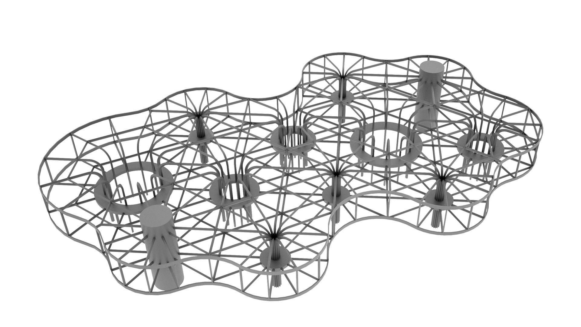 Tragwerkskonzept - Konstruktiv gesehen besteht das Gebäude aus einem netzartigen Tragwerk, dessen horizontale Träger auf zwei Ebenen sternförmig in Punkt- oder Kreisstützsystemen zusammenlaufen.