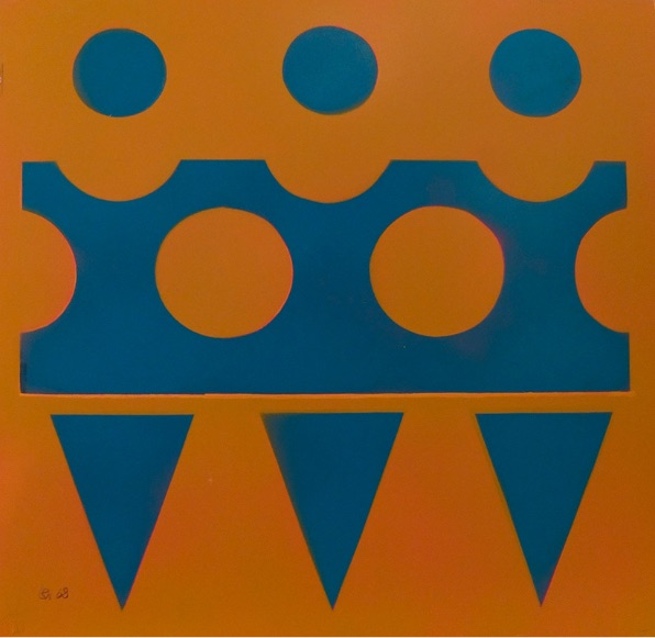 Blue on ocher yellow - 1968
