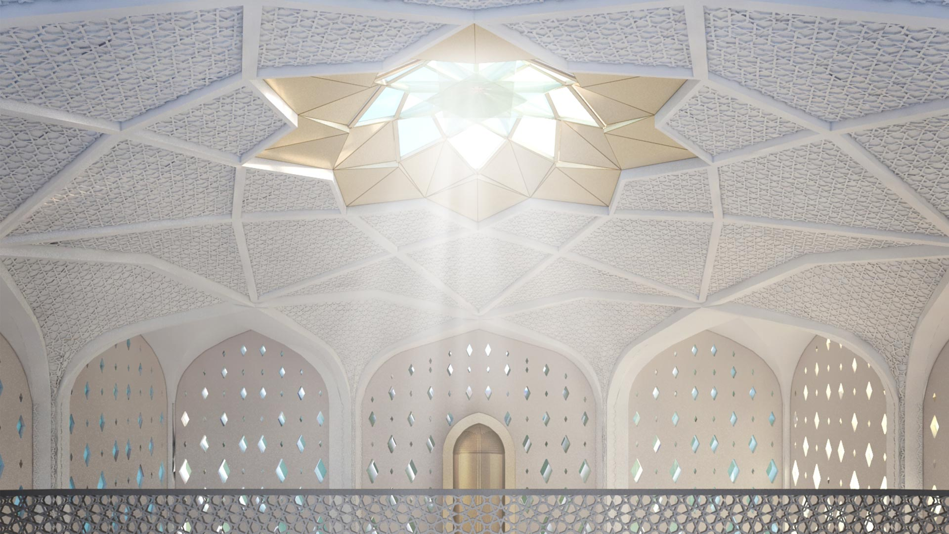 Innenansicht - Das Tragwerk bildet innen eine Form, die vom klassischen islamischen Ornament abgeleitet ist.