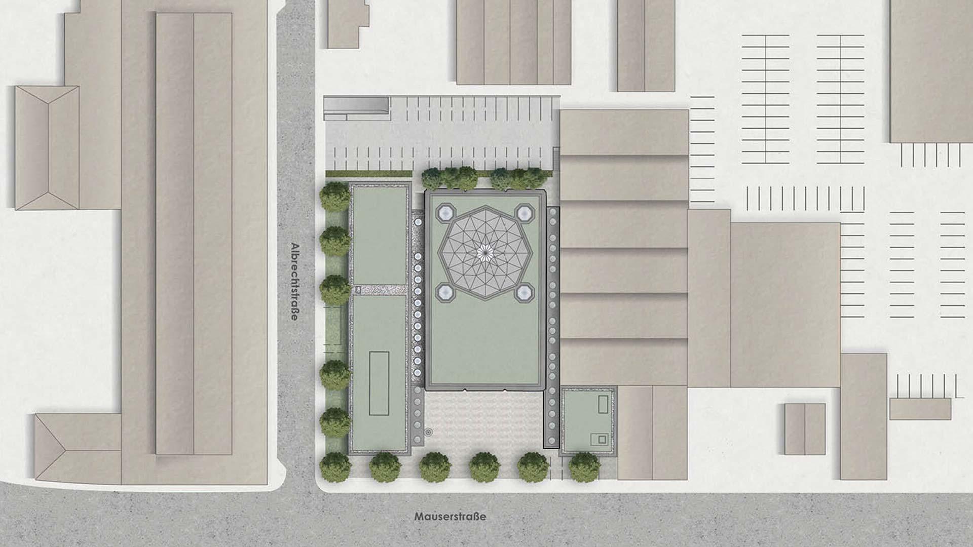 Blick von oben - Auf dem Grundriss werden Größe und Lage der drei Baukörper des Komplexes ebenso sichtbar wie das zentrale Ornament im Innenraum der Moschee.