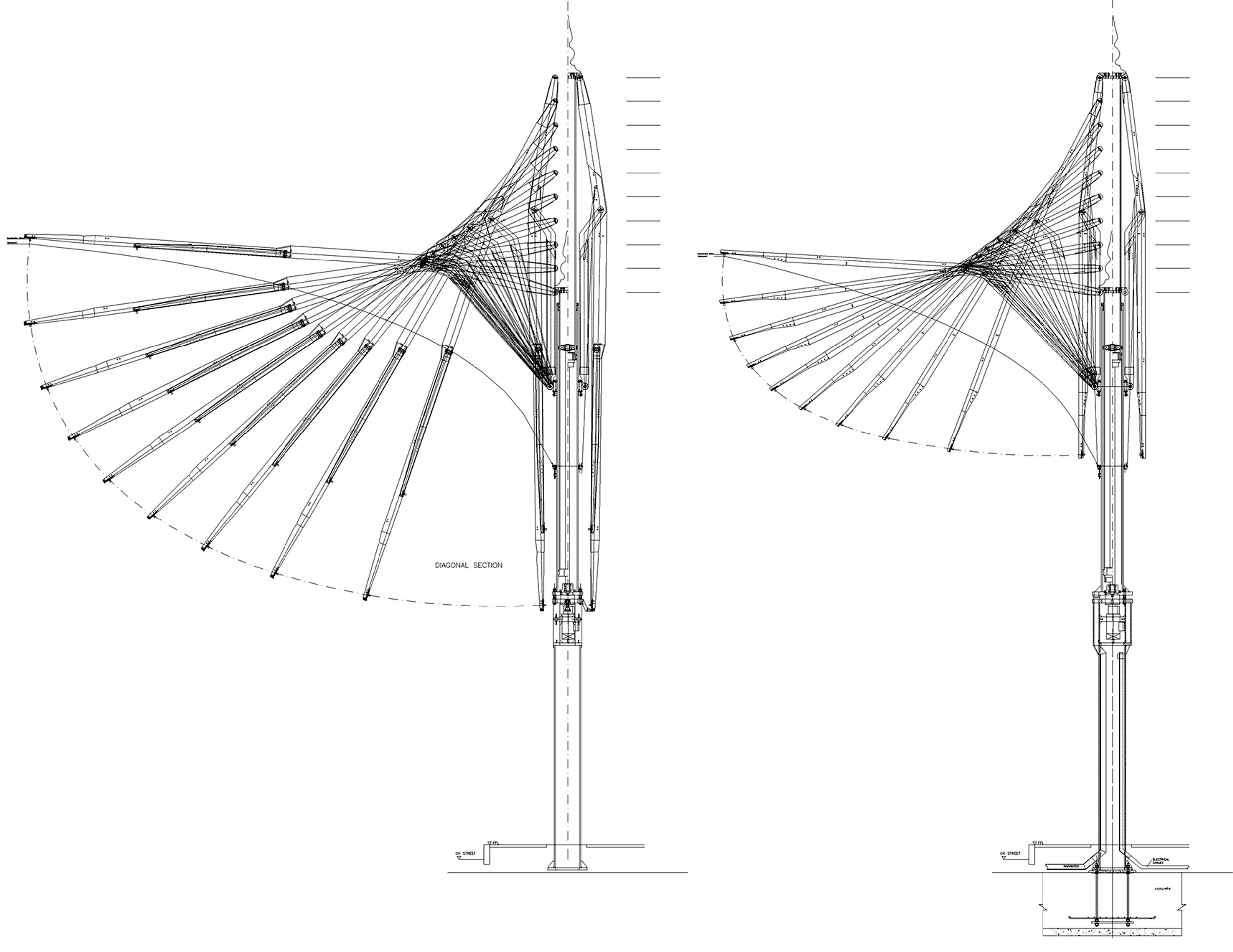 Design based on straight arm system - Four diagonal arms are each connected with two passive and four middle arms. The surface tensions are transmitted to the fittings on the steel frame of the umbrella by peripheral and radial belts and cables.