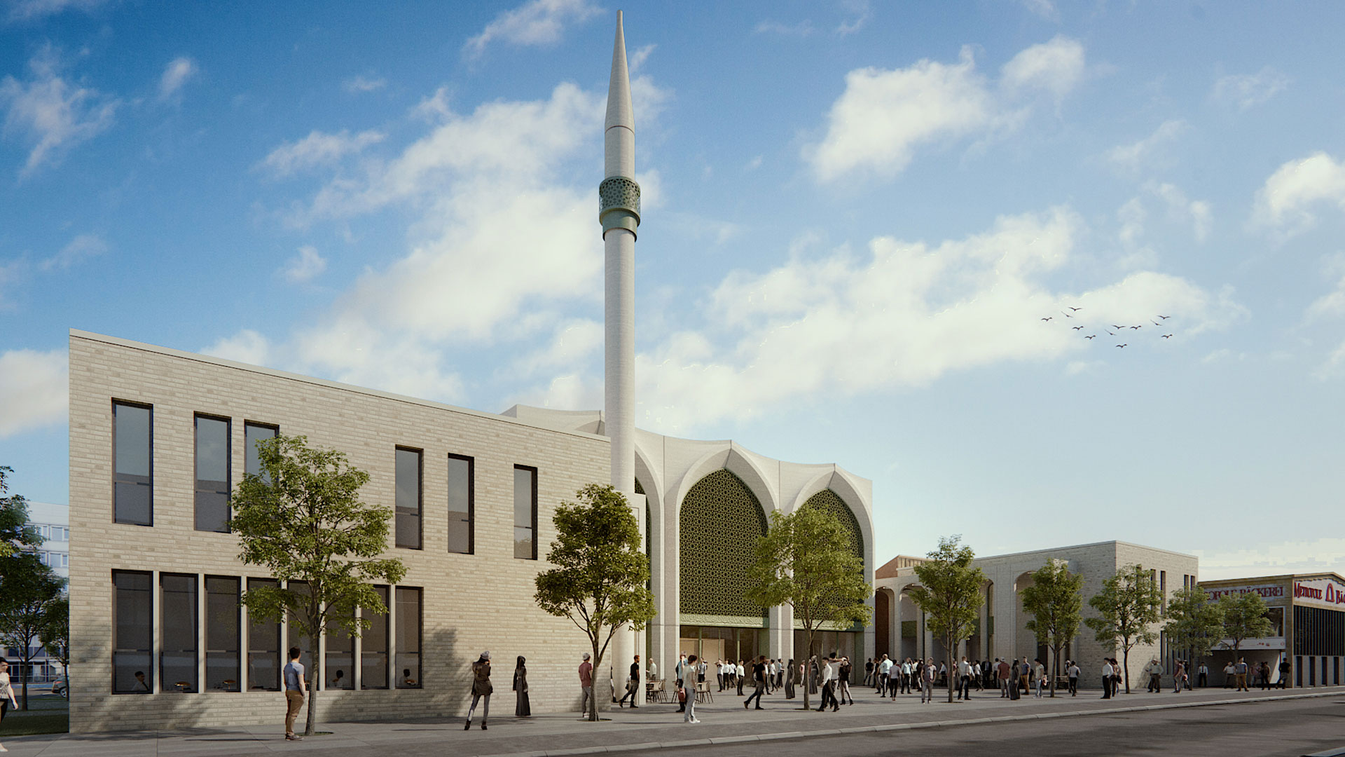 Consistent aesthetic - The mosque and adjacent buildings set themselves apart from their surroundings.