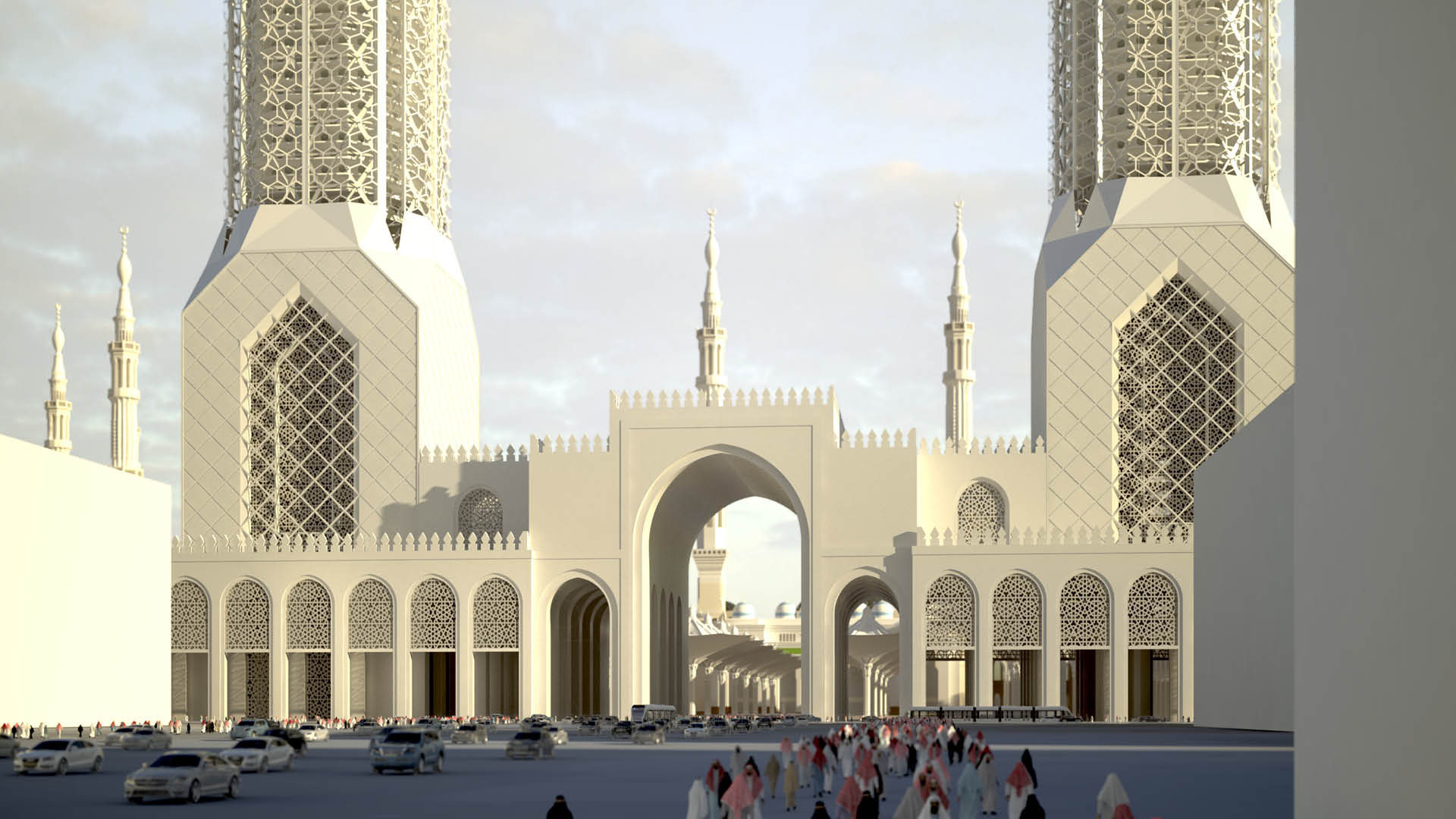 A contemporary interpretation of local tradition - The large gateway building closes the mosque complex off from the city and cites a traditional element of Islamic architecture in the form of mashrabiya-style cladding.